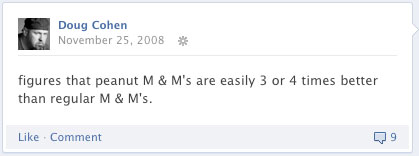 Doug's facebook status from 11/25/08