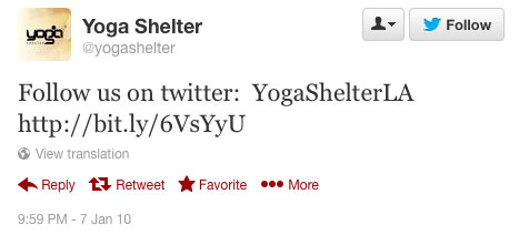 Yoga Shelter's first tweet