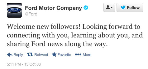 Ford Motor Company's first tweet