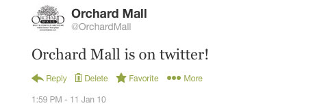 Orchard Mall first tweet
