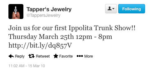 Tapper's Jewelry first tweet